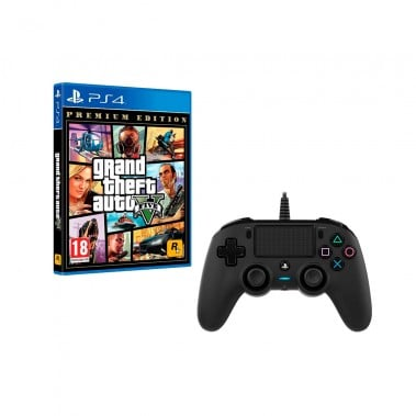 PS4 GTA V + MANDO NACON NEGRO CON CABLE